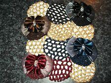 Equestrian bun net set fabric crochet mesh diamante barrette bow horse riding