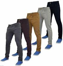 Mens Enzo Slim Fit Stretch Twill Chinos Straight Leg Trousers Cotton Pants