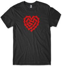Diseño De Corazón Amor Cadena de Bicicleta de ciclismo Camiseta Unisex Para Hombre Divertido