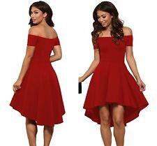 Femmes off épaule hot rouge soirée évasée swing patineuse jupe robe 8 10 12 14