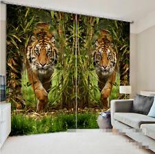 3D Tiger Gras 974 Blockade Foto Vorhang Druckvorhang Vorhänge Stoff Fenster DE