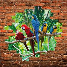 Sticker mural trompe l'oeil mur de pierre perroquets réf 841