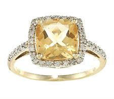 10k Yellow Gold Cushion Citrine and Diamond Ring (1/4 TDW)