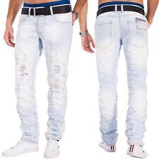 Herren destroyed Denim Jeans hellblau Totenkopf zerrissen Used Look Denim