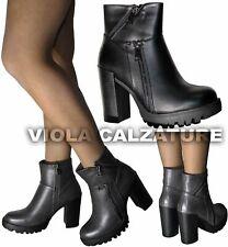 Scarpe Donna Stivaletti Stivali boots Tronchetti Tacco alto plateau nuovo 9008