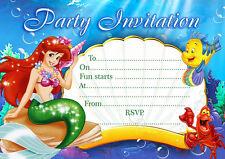 10  Children Birthday Party Invitations / Thank you Cards ARIEL MERMAID