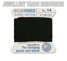 BLACK NYLON POWER SILKY STRING THREAD 1.02mm STRINGING PEARLS & BEADS GRIFFIN 14