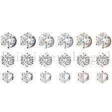 Cz Stud Stainless Steel Clip on Earrings 6pc Men Women Non Piercing Magnetic Ear