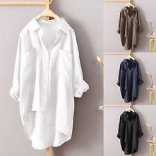 Women Buttons Down Asymmetrical High Low Shirt Blouse Plus Loose Tunic Tops 2018