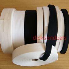 Cotton Webbing Herringbone Twill Tape 10mm 15mm 25mm 38mm 50mm Black Cream White