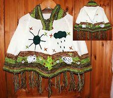 Kinder Poncho Gr. 68*74, 80*86, weiß grün, Ärmel Fransen XXL-Kapuze, Inka Peru