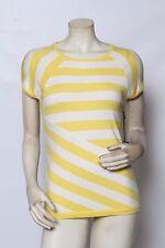 Rondina Diseñador amarillo y blanco manga corta de rayas camiseta talla XS