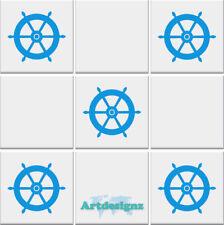 SHIPS WHEEL Tile Stickers Bathroom Nautical Vinyl Wall Art Car Decal AD34