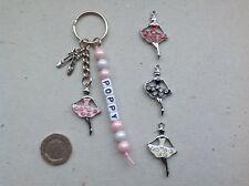Handmade Personalised Any Name Ballet Ballerina Keyring, Bag Tag, Charm