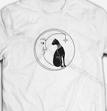 Mens Womens Vintage Moon and Black Cat S-XXXL White Cotton T-shirt Tshirts Tee