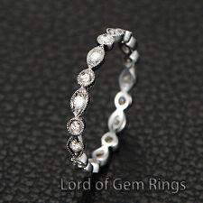 Moissanite Wedding Band 14K Gold Full Eternity Ring, Milgrain Art Deco Antique