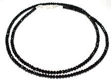 Natural Black Spinel 3 mm Rondelle Faceted Beads 925 Sterling Silver Necklace