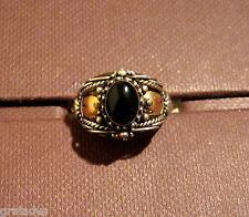 Ring,925er Silber mit teilw. 18 Kt. Goldauflage mit Edelstein: Onyx