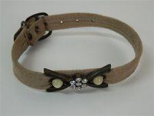 Collare cani Beige con fiocco brillantini bianchi e perle 36 cm 33 cm 13 mm M248