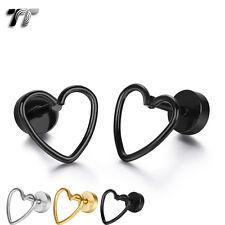 TT Stainless Steel Hollow Heart Fake Ear Plug Earrings (BE213) NEW