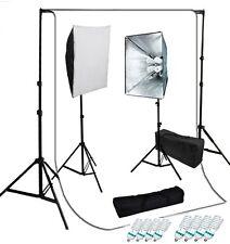 Studio 4 socket softbox video lighting kit optional white backdrop Support set