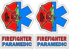 Paramedic Firefighter Helmet Decal Set (2) Reflective Rescue Sticker SOL Maltese