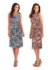 Womens Animal Print Dress Mid Length Sleeveless Summer Party Dress Size UK 8-16