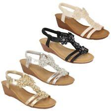 Donna Sandali con zeppa e lacci slip on da punta aperta cinturino scarpe strass