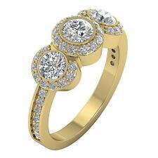 Designer Three Stone Wedding Ring I1 H 1.75Ct Natural Diamond 14Kt Gold 8.90MM