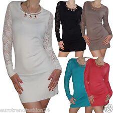 Neu Damen Pullover Pulli Shirt Spitz Mini- Kleid Long Shirts Strick Top Langarm