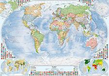 Politische Weltkarte mit 4 Nebenkarten