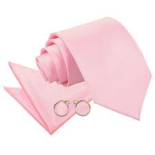 DQT Satin Plain Solid Baby Pink Classic Slim Skinny Tie Hanky Cufflinks