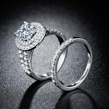 Gorgeous Woman Princess Cut 2.85ct White Sapphire 925 Silver Ring Size 7-9