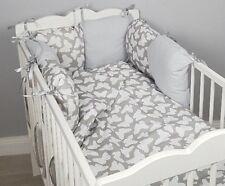 8 pc cot /cot bed bedding sets PILLOW BUMPER + CASES grey butterflies white