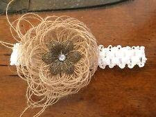 Handmade Burlap Flower Stretch Lace Baby Girl Headbands Wedding Photo shoot Prop