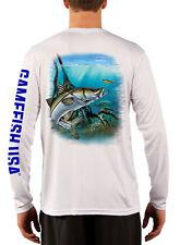 Men's UPF 50 Long Sleeve Microfiber Performance Fishing Shirt Snook