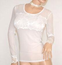 MAGLIETTA donna BIANCA maglia sottogiacca velata pizzo manica lunga ricamata A10