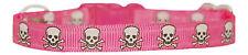 """hot pink & white skull & cross bones chihuahua dog puppy collar 6-8"""" handmade"""
