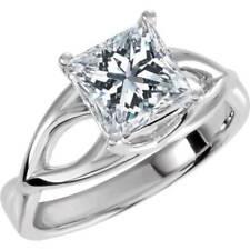 1 Carat Princess Cut Enhanced Diamond Solitaire Engagement Ring 14K White Gold