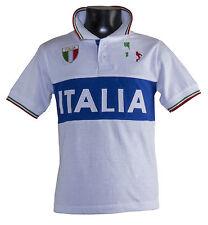 Maglia polo t-shirt  Italia bianca  bimbo e adulto