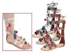 New Women Wrap Lace Up Open Toe Mid Calf Cage Gladiator Pom Pom Flat Sandal Shoe
