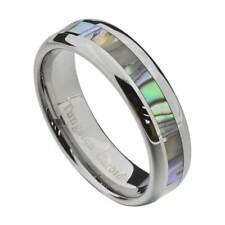 Tungsten 6mm Band Abalone Shell Inlay Round Edge Women's Jewelry Wedding Band