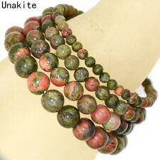 Handmade Natural 4mm 6mm 8mm 10mm Unakite Gemstone Round Bead Stretch Bracelet