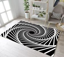 Black & White Swirl Indoor Anti-Slip Area Rugs Original Design Soft Carpet
