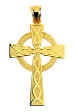 10k 14k Solid Yellow Gold Irish Celtic Cross Charm