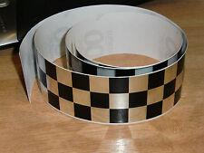 Negro + Chrome Checker Cinta - 4 Pies X 2 In - 3 Plazas / Chequer Stripe