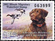 ILLINOIS #28 2002 STATE DUCK STAMP CHES RETREIVER/CANVASBACK  by Jim Killen