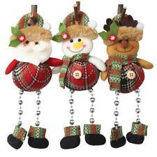 Christmas Checked Cloth Little Doll w/Legs Pendant Festival Window Ornament N#S7