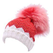 4947Y cuffia bimba girl Catya white/red wool real fur hat