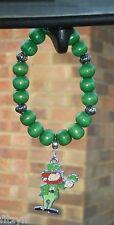 Car Lucky Leprechaun & Shamrock Charm & Wooden Beads Eire Gaelic St Patricks Day